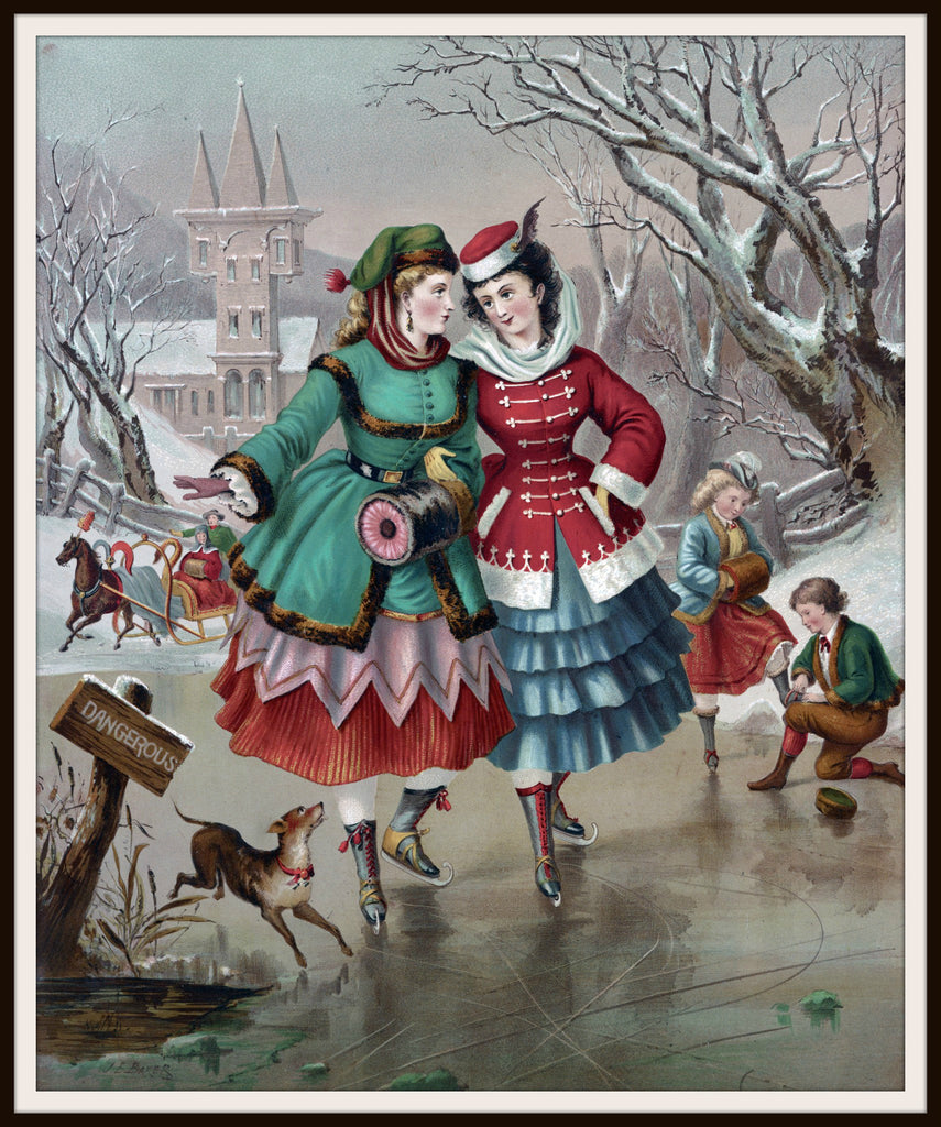 Vintage Poster Art Poster Ice Skaters 8.5 x 11""