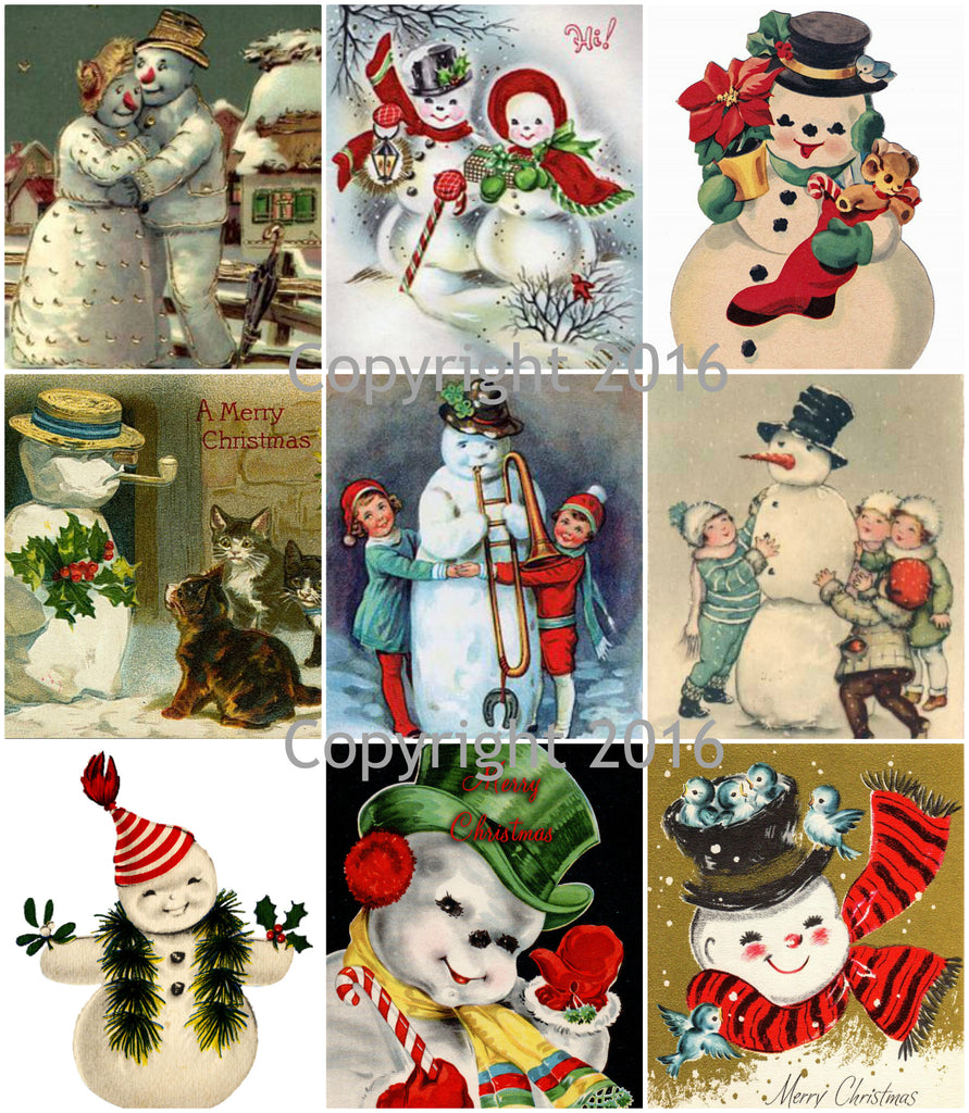 Vintage Christmas Snowman Card Collage Sheet
