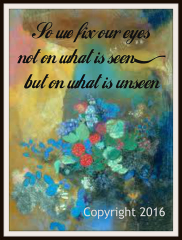 "Scripture Art Print  ""So We Fix Our Eyes"", Wall Decor, 8 x 10"" Unframed Motivational Quote"