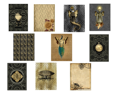 Steampunk Journal Pages #2: 10 Journal or Scrapbook Pages
