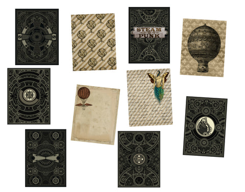 Steampunk Journal Pages #3: 10 Journal or Scrapbook Pages