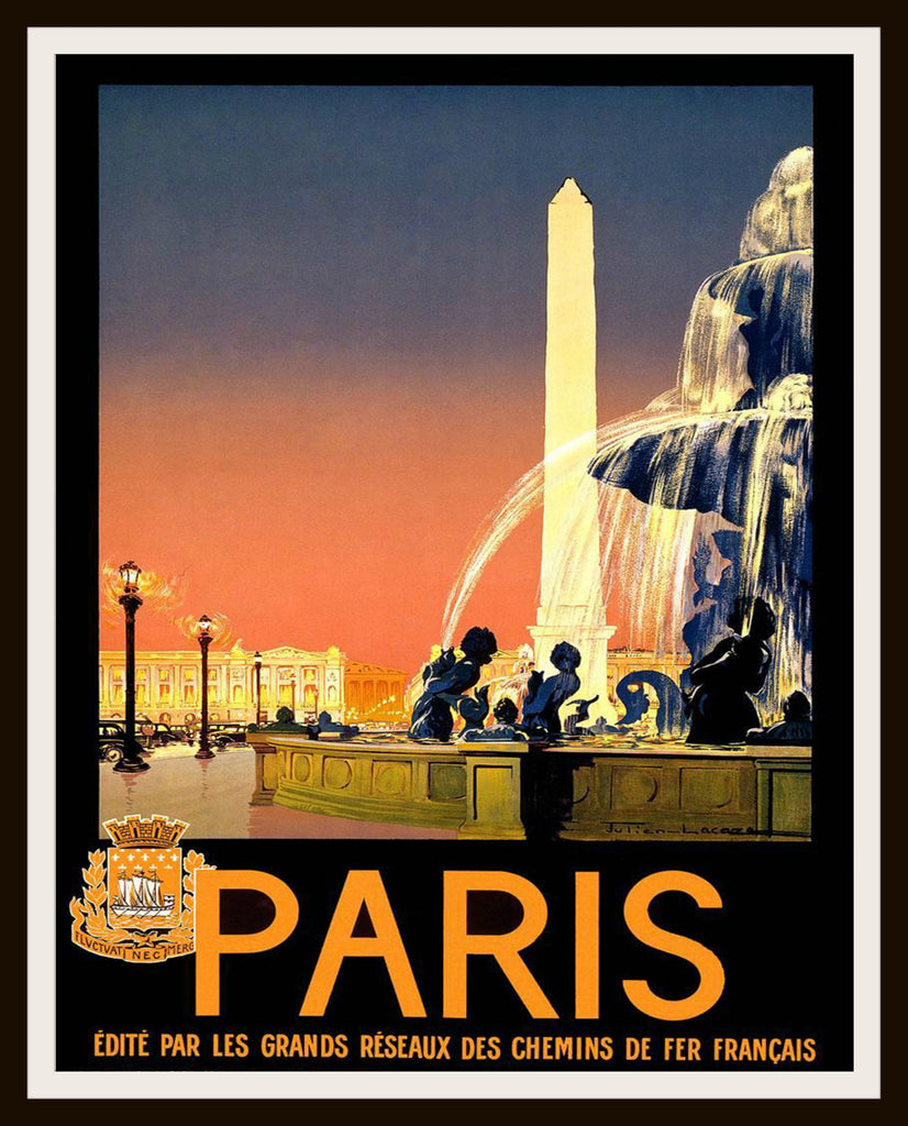 Printed Vintage ParisTravel Poster Art Image Reproduction Unframed