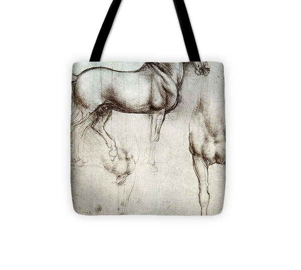 Study Of A Horse By Leonardo Da Vinci - Tote Bag