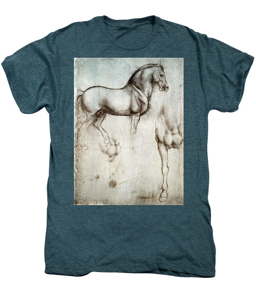 Study Of A Horse By Leonardo Da Vinci - Men's Premium T-Shirt