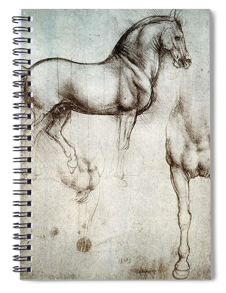 Study Of A Horse By Leonardo Da Vinci - Spiral Notebook