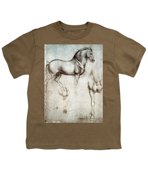 Study Of A Horse By Leonardo Da Vinci - Youth T-Shirt