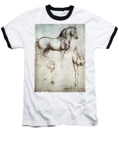 Study Of A Horse By Leonardo Da Vinci - Baseball T-Shirt