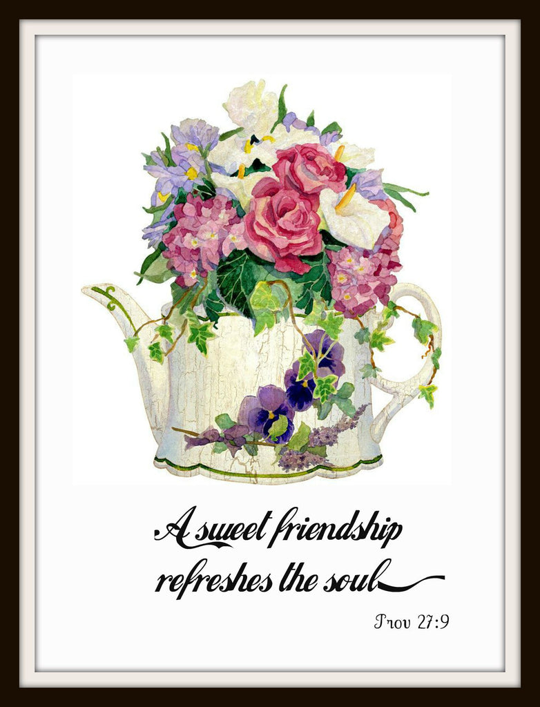 "Vintage Scripture Art Print ""A Sweet Friendship"", Wall Decor, 8 x 10"" Unframed Printed Art Image, Scripture Print, Motivational Quote"