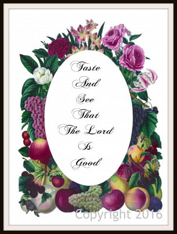 "Scripture Art Print  ""Taste and See"", Wall Decor, 8 x 10"" Unframed Motivational Quote"