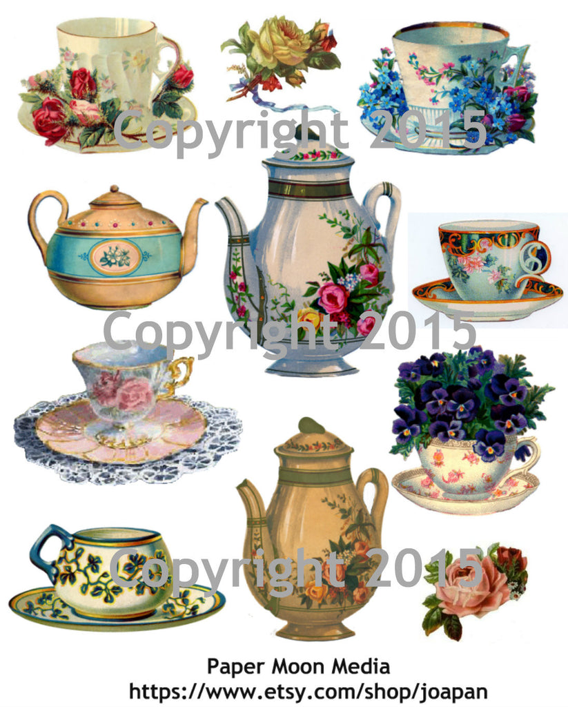Tea Pots and Tea Cups Collage Sheet Printed Collage Sheet,  Weddings, Decoupage, Scrapbook, Altered Art, Victorian Scrap