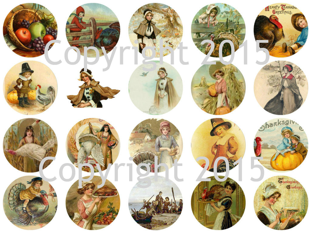 Printed Vintage Victorian Thanksgiving Circles Collage Sheet  8.5 x 11""