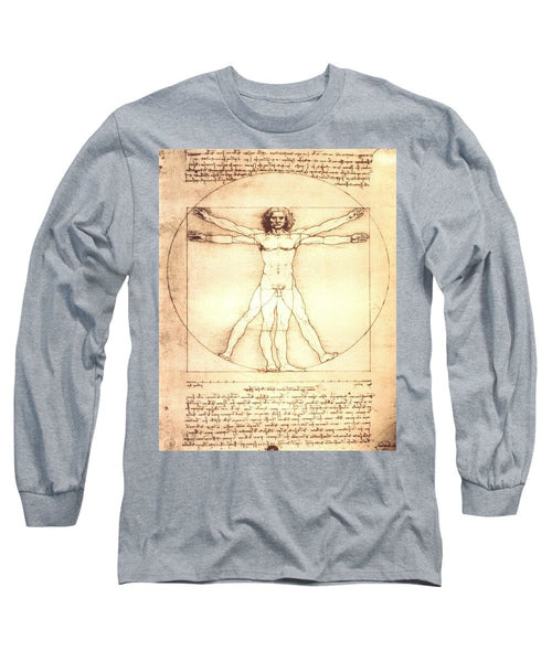 The Vitruvian Man By Leonardo Da Vinci - Long Sleeve T-Shirt