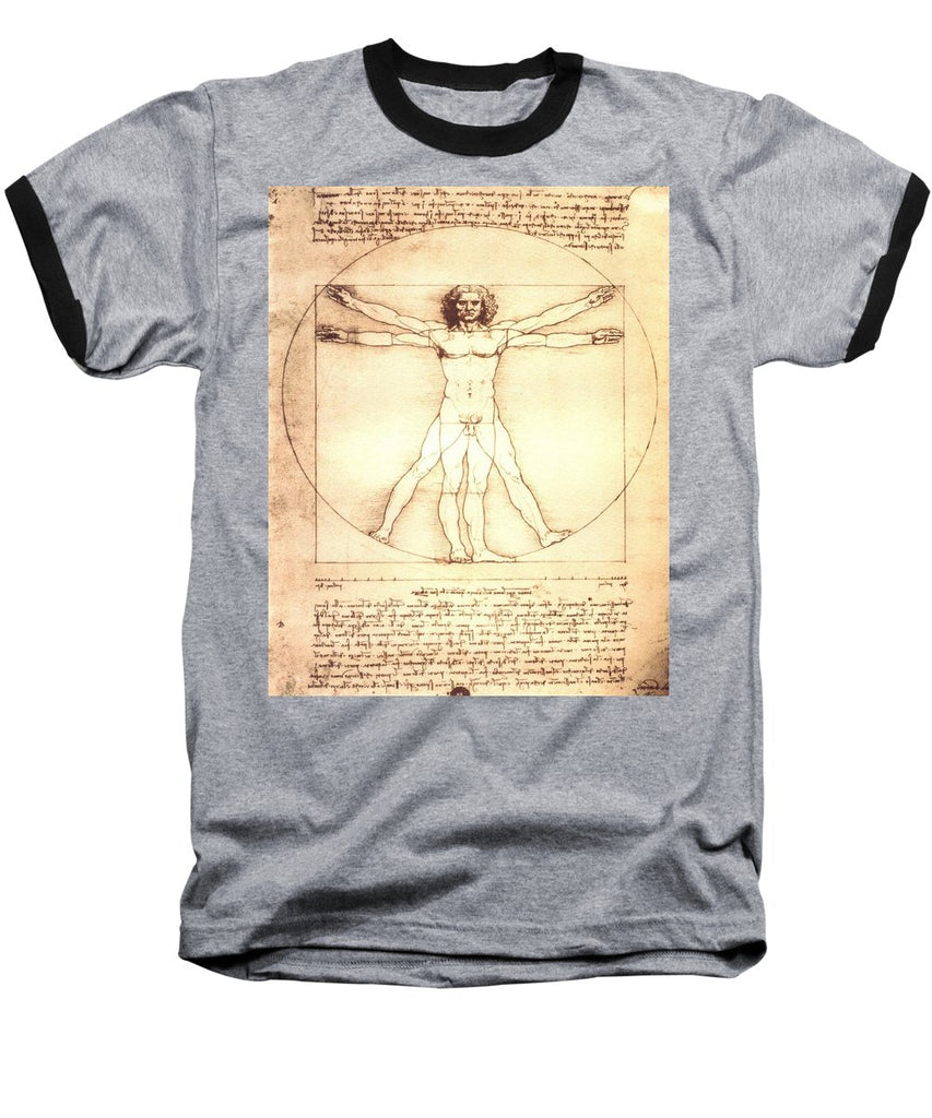 The Vitruvian Man By Leonardo Da Vinci - Baseball T-Shirt