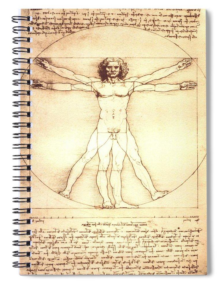 The Vitruvian Man By Leonardo Da Vinci - Spiral Notebook
