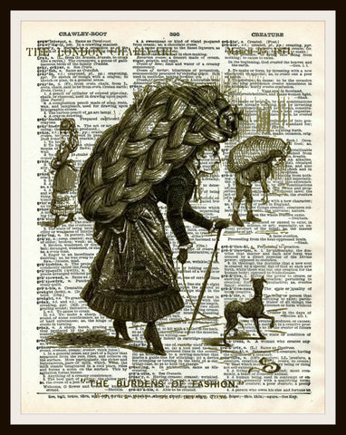 The Burden of Fashion Art Print Reproduction Ephemera Dictionary Background Art Poster