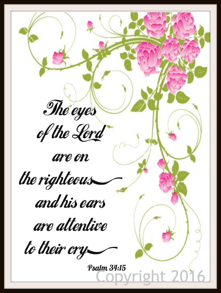 "Scripture Art Print  ""The Eyes of the Lord"", Wall Decor, 8 x 10"" Unframed Motivational Quote"
