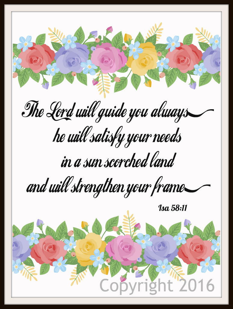 "Scripture Art Print  ""The Lord Will Guide You Always"", Wall Decor, 8 x 10"" Unframed Motivational Quote"