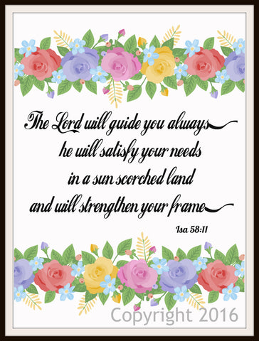 """The Lord Will Guide You Always"" Wall Decor, Unframed Printed Art Print Poster, Scripture Print, Motivational Quote"