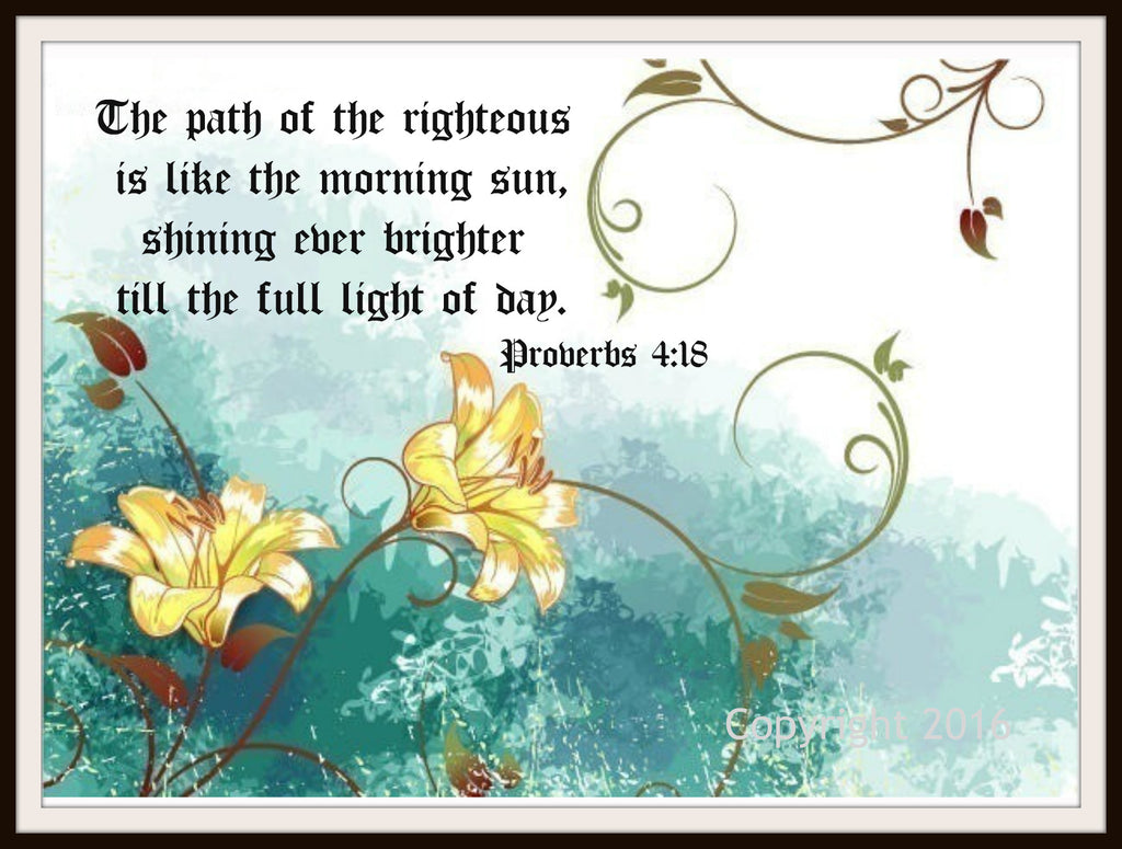 "Scripture Art Print  ""The Path of The Righteous"", Wall Decor, 8 x 10"" Unframed Motivational Quote"
