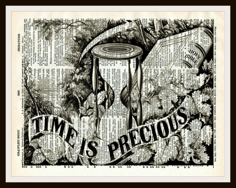 Time is Precious Art Print Reproduction Ephemera Dictionary Background Art Poster
