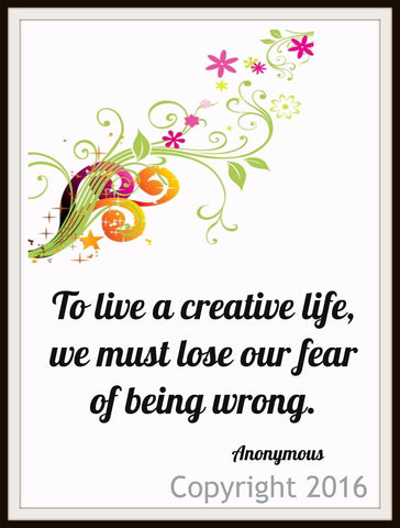 "Motivational Art Print  ""To Live a Creative Life"", Wall Decor, 8 x 10"" Unframed Motivational Quote"