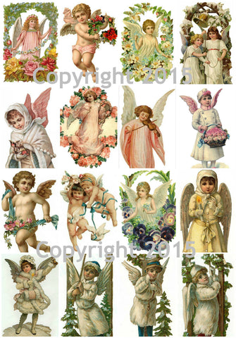 Vintage Angels Collage Sheet Instant Download JPG and PDF