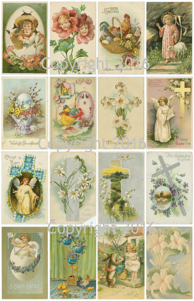 Vintage Easter Cards Printed Collage Sheet  #102
