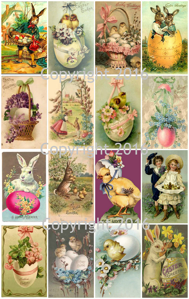 Vintage Easter Cards Printed Collage Sheet  #103