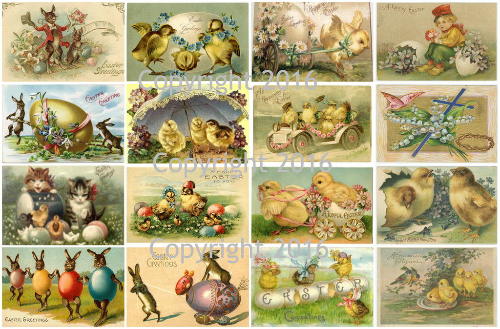 Vintage Easter Cards Printed Collage Sheet  #104