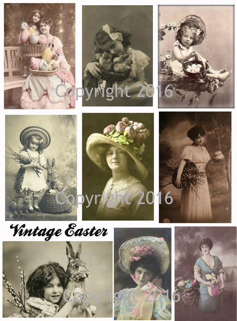 Vintage Easter Photo Images Printed Collage Sheet #102