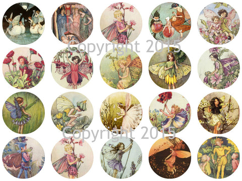 "Printed Vintage Victorian  Fairy 1 3/4"" Circles Collage Sheet"
