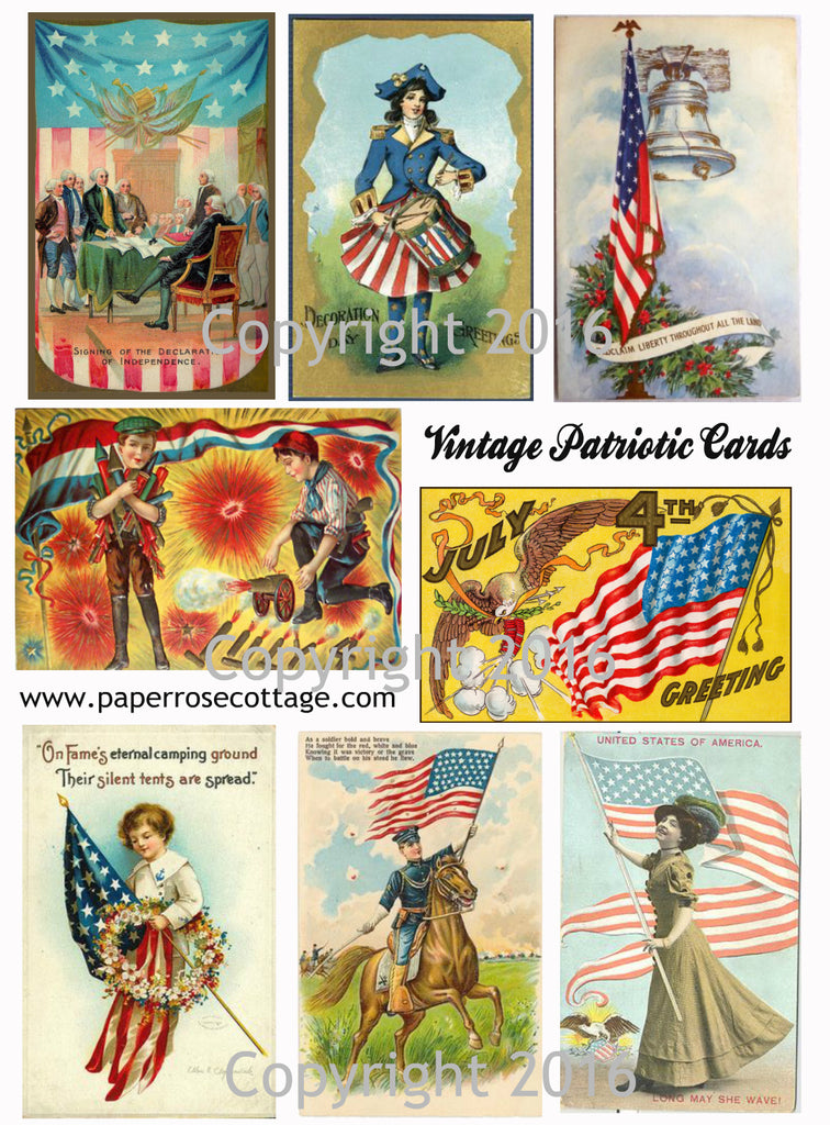 Printable Vintage Patriotic 4th of July Cards Collage Sheet #4  To Download