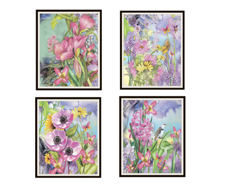 "Set of 4 Watercolor Garden Art Print Posters Set Unframed 8 x 10"" or 11 x 14"""
