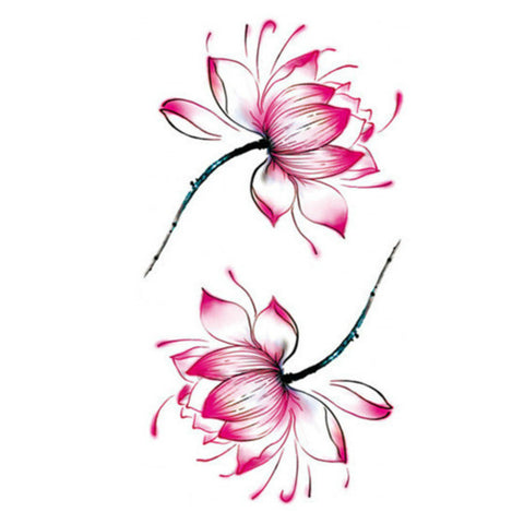 "3 Waterlily Water Transfer Waterproof Temporary Tattoo Body Art 4 1/4"" x 2 1/4"""