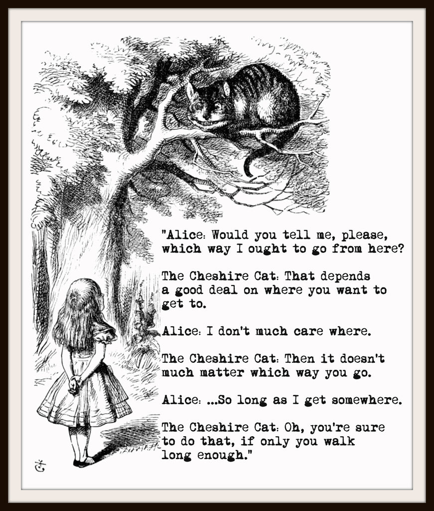 "John Tenniel's Alice in Wonderland Art Print ""Alice and Cheshire Cat"" 8 x 10"""