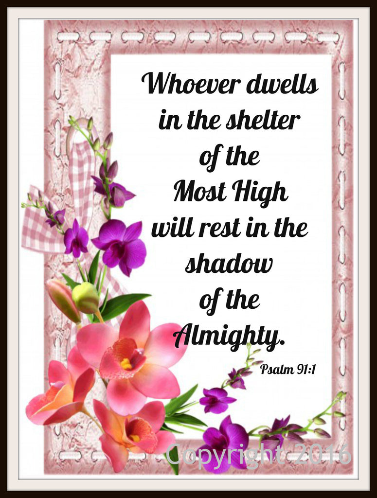 "Scripture Art Print  ""Whoever Dwells in the Shelter"" Wall Decor, 8 x 10"" Unframed Motivational Quote"