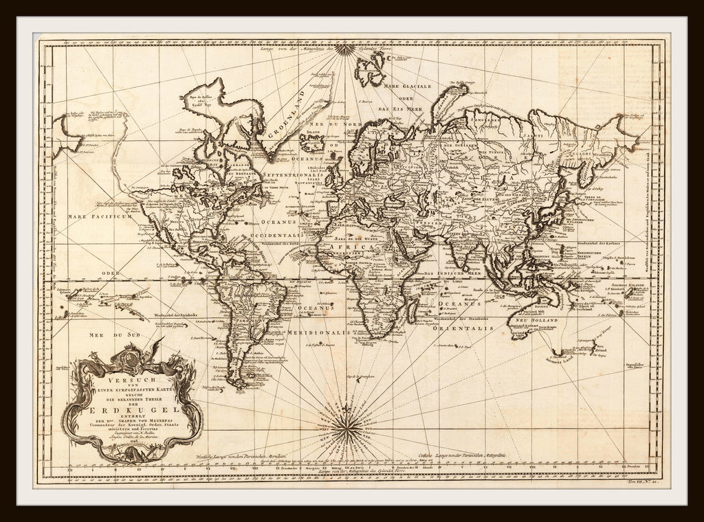 Printed Vintage World Map Poster Art Reproduction Unframed