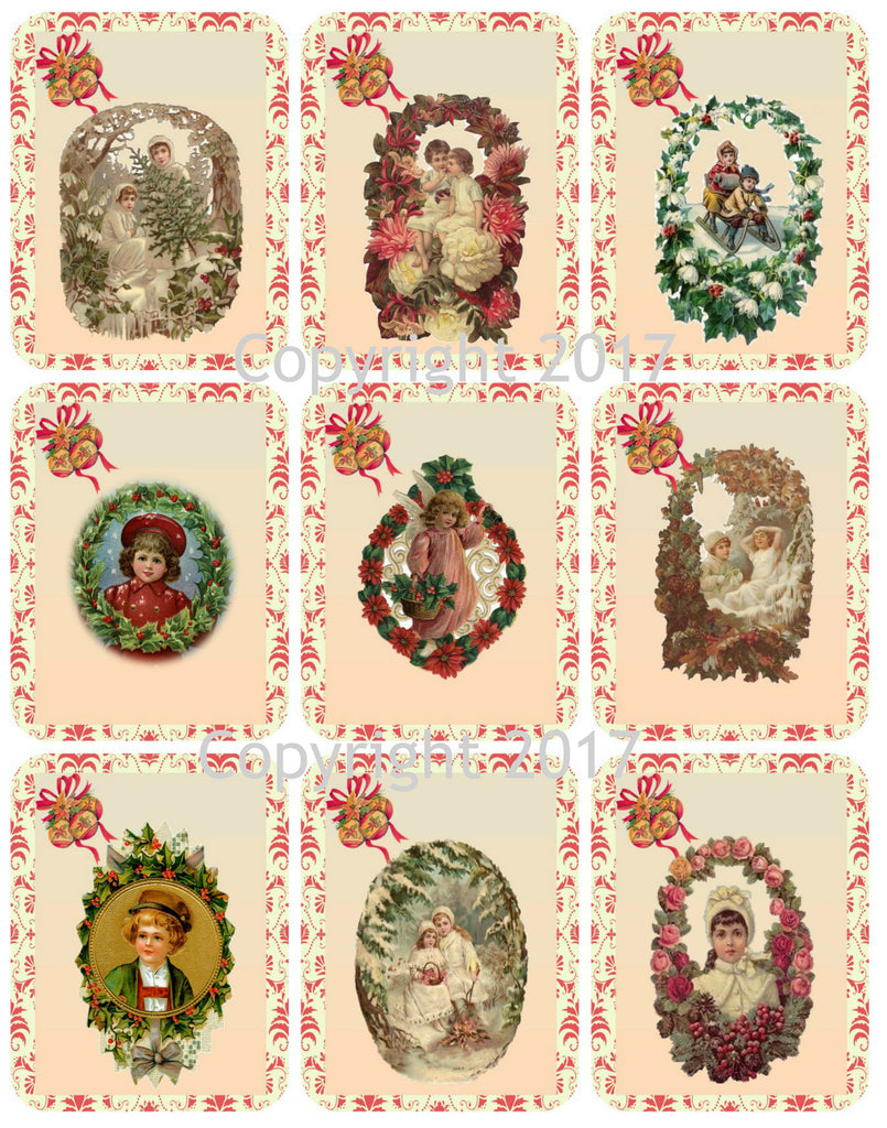 Victorian Images Vintage Wreath Christmas Graphics Collage Sheet, Digital Scrapbooking, Prints, ATC, Gift Tags