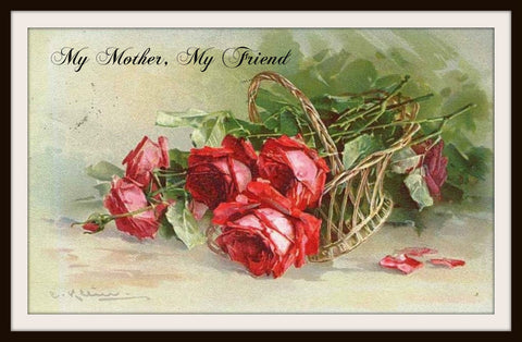 "Vintage Mother's Day Art Print ""My Mother My Friend 8.5 x 11"""