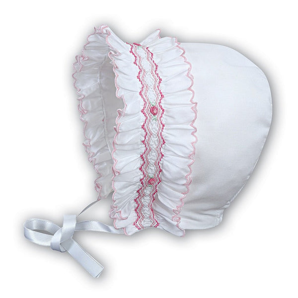 Baby Girls White Pink Bonnet - Kizzies, Hats - Childrens Wear