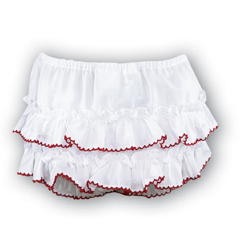 Baby Girls Frilly Knickers White Red