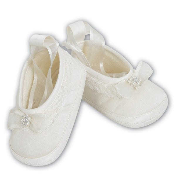 Baby Girls Ivory Satin Shoes - Kizzies, Shoes - Childrens Wear