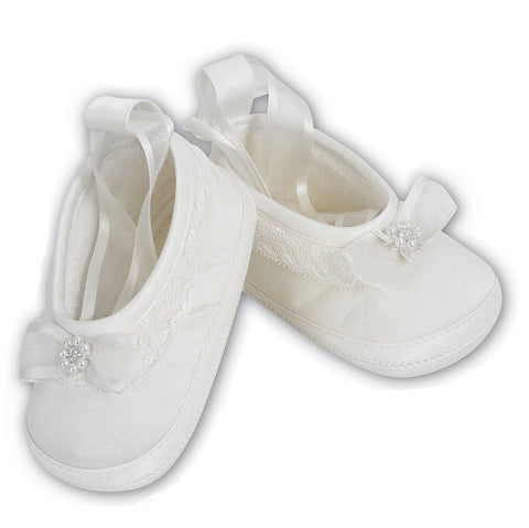 Baby Girls Satin Shoes 4408 White - Kizzies, Shoes - Childrens Wear