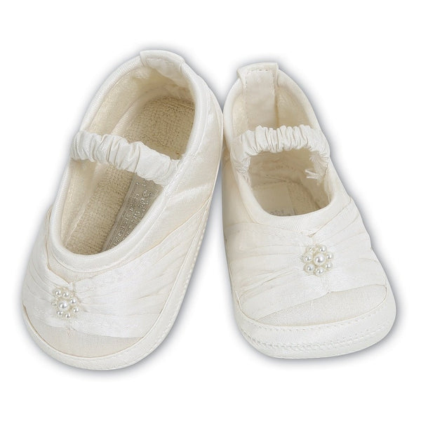 Sarah Louise 4409 Baby Ivory Satin Shoes | Kizzies