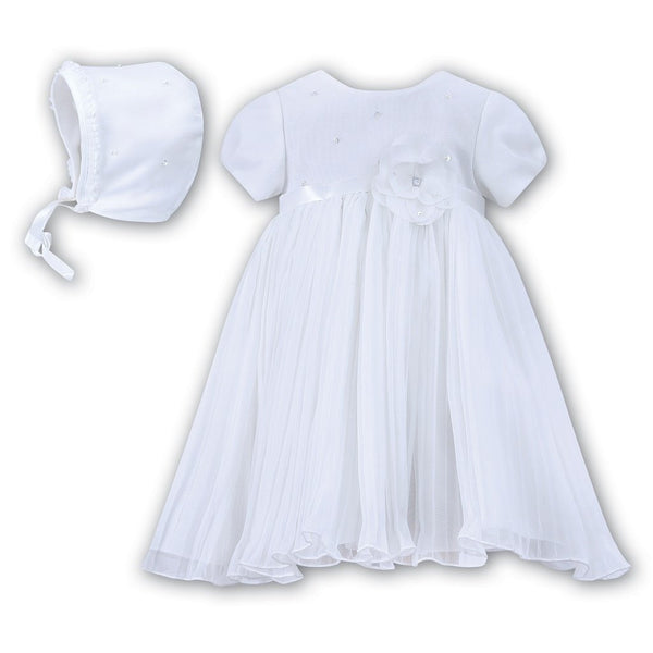 Sarah Louise White Occasion Dress & Bonnet 070049 | Kizzies