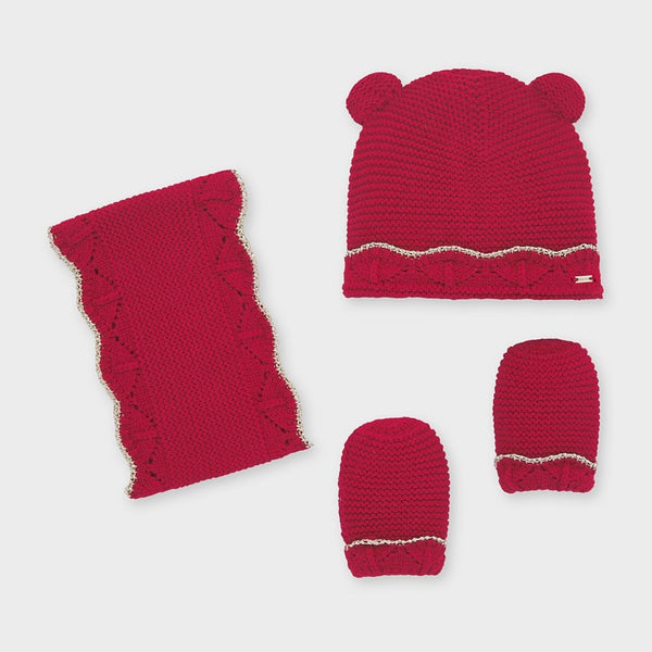 Baby Girls Hat and Scarf Set Red