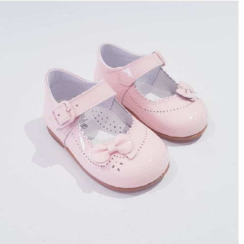 Classic Pink Patent Shoes with Bow - Kizzies, Shoes - Childrens Wear