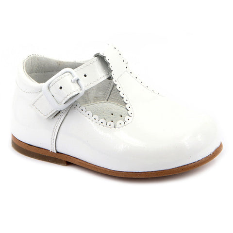 Classic Patent T-Bar Shoes White - Kizzies, Shoes - Childrens Wear