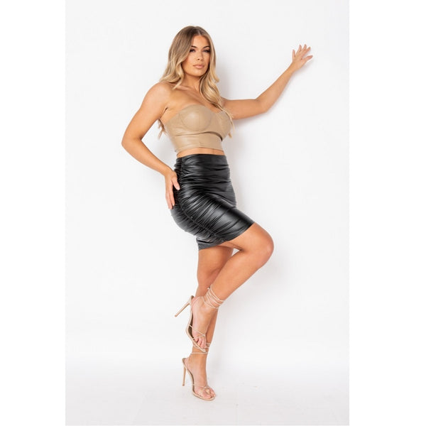 Faux Leather Ruched Mini Skirt Black