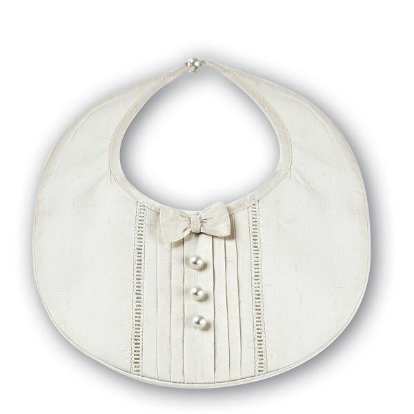 Baby Silk Ivory Bib - Kizzies, Bibs - Childrens Wear